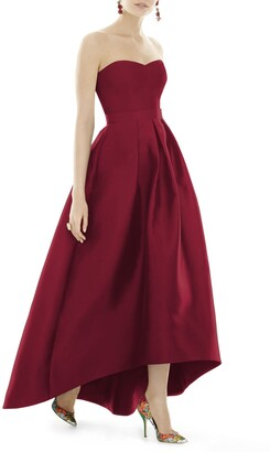 Alfred Sung Strapless High/Low Satin Twill Ballgown