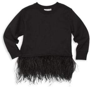 Milly Minis Little Girl's& Girl's Feather-Trim Sweatshirt