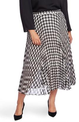Vince Camuto Houndstooth Pleated Midi Skirt