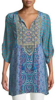 Tolani Elora Mixed-Print Embroidered Tunic, Plus Size