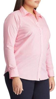 Lauren Ralph Lauren Plus Straight-Fit Striped Cotton-Button Down Shirt