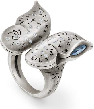 Snake Bones - Butterfly Ring with Diamonds in Sterling Silver