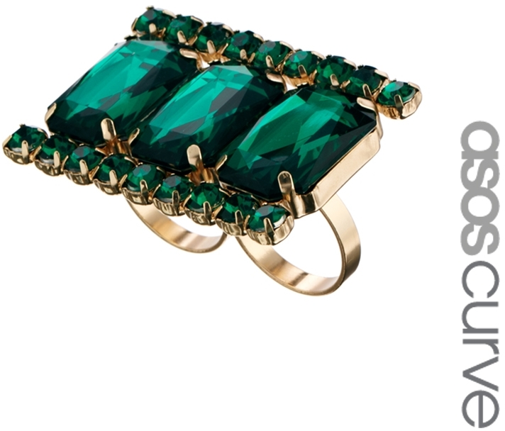 Asos Exclusive Envy Knuckleduster Ring - Green