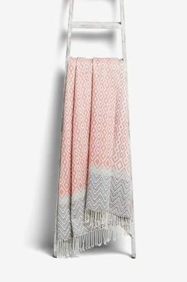 Next Pink Woven Throw - Pink