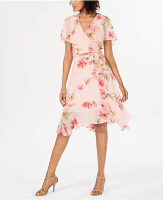 Jessica Howard Short-Sleeve Wrap Midi Dress