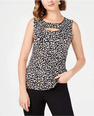 JM Collection Printed Cutout Tank Top, Created for Macy's