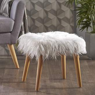Christopher Knight Home 300444 Living Hudson Mid-Century Faux Fur Ottoman (White)