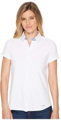 U.S. Polo Assn. Full Placket Short Sleeve Blouse Women's Clothing