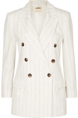 L'Agence Brea Pinstriped Linen And Cotton-blend Blazer - White