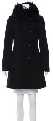 Andrew Marc Fur Collar Knee-Length Coat $295 thestylecure.com