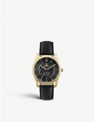 Vivienne Westwood VV185GDBK Holborn II gold-toned stainless steel and leather strap watch