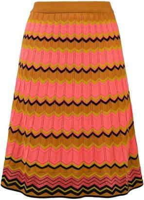 M Missoni pointelle-knit zigzag skirt