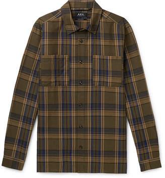 A.P.C. Achille Checked Cotton And Linen-blend Canvas Shirt - Brown