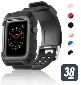 38mm Apple Watch Band by Zodaca Rugged Protective Watch Band Replacement Strap For Apple Watch Series 1/2/3 38mm - Black