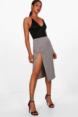 boohoo Libby Crepe Extreme Lace Up Slit Column Midi Skirt