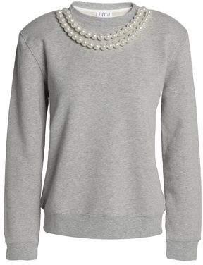 Claudie Pierlot Faux Pearl-Embellished Cotton-Blend Sweatshirt