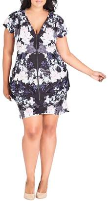 City Chic Blossom Print Tunic Dress