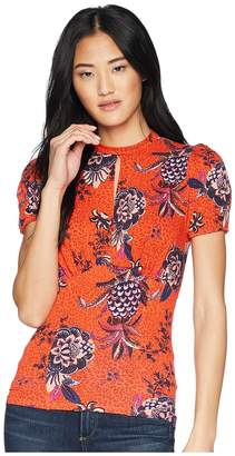 Free People Hear Me Roar Print Top Women's Blouse