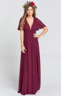 Show Me Your Mumu Faye Flutter Maxi Dress ~ Merlot Chiffon