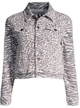 Current/Elliott The Baby Trucker Leopard Denim Jacket