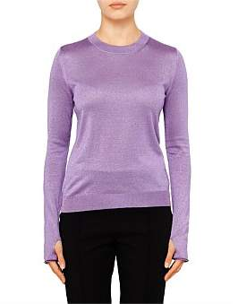 Paul Smith Womens Pullover Crew Neck Purple Lurex