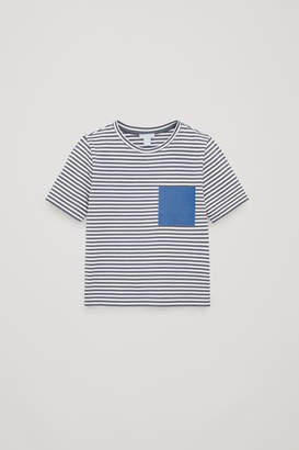 Cos STRIPED T-SHIRT WITH FAKE POCKET