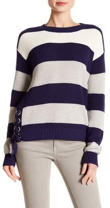 Minnie Rose Grommet Striped Crew Neck Sweater