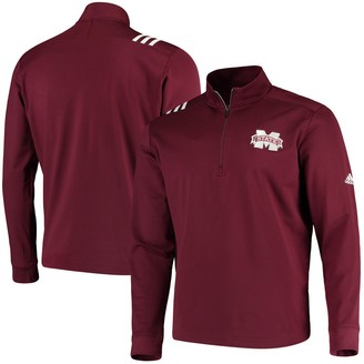 adidas Mississippi State Bulldogs College Three-Stripe Quarter-Zip Jacket - Maroon