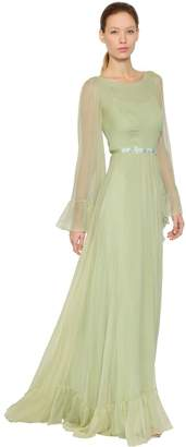 Luisa Beccaria Silk Crepon Dress W/ Flower Belt