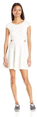 My Michelle Sequin Hearts Junior's Cut Out Lace Dress Cap Sleeves