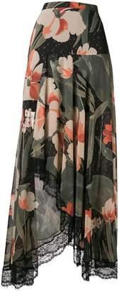 Twin-Set lace trim floral maxi skirt