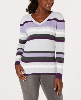 Karen Scott Petite V-Neck Striped Sweater