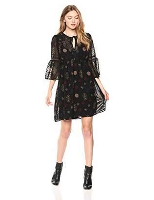 Lucky Brand Women's Border Print V Neck Dress