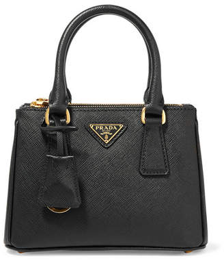 Prada Galleria Baby Textured-leather Tote - Black