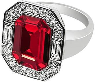 Swarovski Cristalina Wallis Art Deco Style Siam Red Crystal Statement Ring - Size P