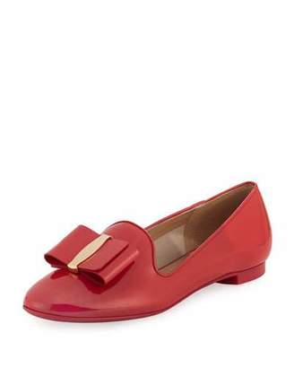 Salvatore Ferragamo Elisabella 2 Bow Patent Loafer, Pamplona Red $525 thestylecure.com