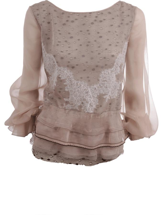 Valentino Tiered Lace Chiffon Blouse
