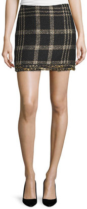 Rachel Zoe Bex Metallic Plaid Fringed Miniskirt $255 thestylecure.com