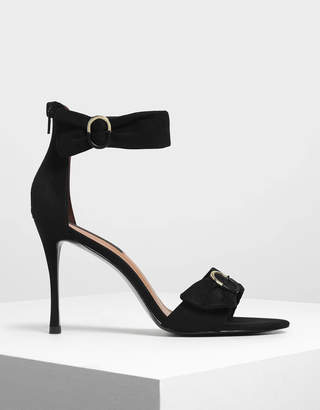 Charles & Keith Ruched Two-Tone Buckle Stiletto Heels