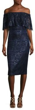 Theia Off-the-Shoulder Lace Dress $695 thestylecure.com