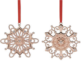 Lenox Set Of 2 Rose Gold Ornaments