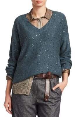 Brunello Cucinelli Cashmere& Silk V-Neck Boyfriend Sweater