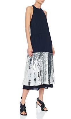 Tibi Claude Sequin Layered Halter Dress