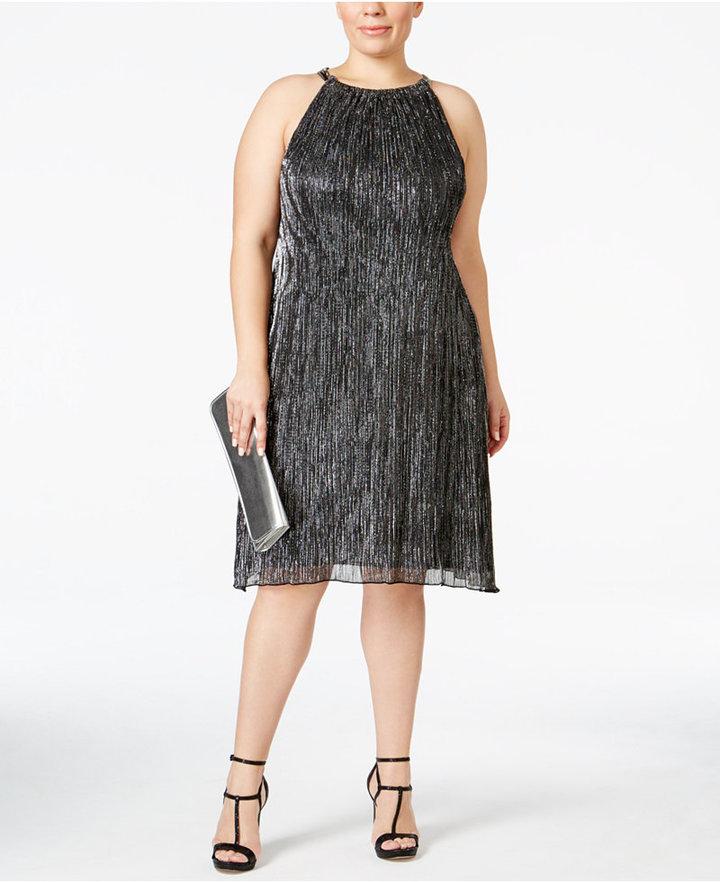 AlfaniAlfani Plus Size Metallic Halter Shift Dress, Only at Macy's