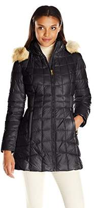 Jones New York Women's Polyfill Mid Length Coat with Sherpa Lined Hood $125 thestylecure.com