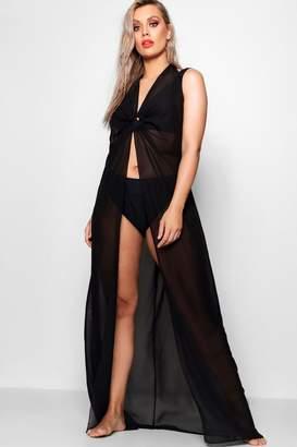 boohoo Plus O Ring Full Length Beach Maxi Dress