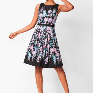 Talbots Floral Sateen Fit & Flare Dress