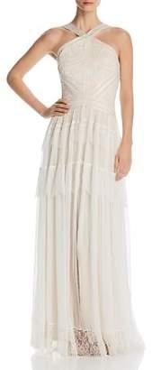 Tadashi Shoji Lace-Trimmed Chiffon Gown