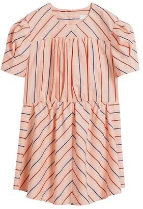 Burberry Striped Cotton Silk Panelled Dress