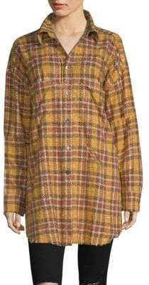 Faith Connexion Oversized Studded Plaid Shirt